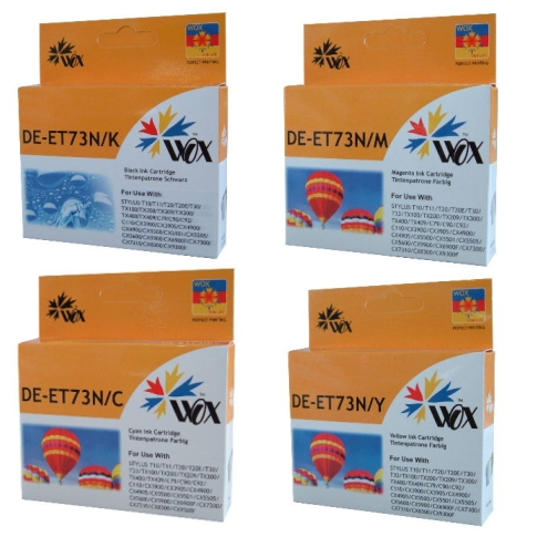 Set of 8 compatible Epson 73N (2BK/2C/2Y/2M) ink cartridges
