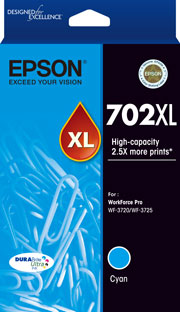 Genuine Epson 702XL Cyan Ink Cartridge