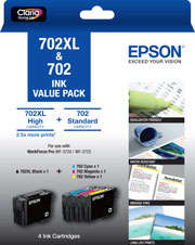 Genuine Epson 702XL Black and 702 Colour Cartridge Value Pack