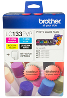 Genuine Brother LC133 Value Pack (BK/C/M/Y plus photo paper)