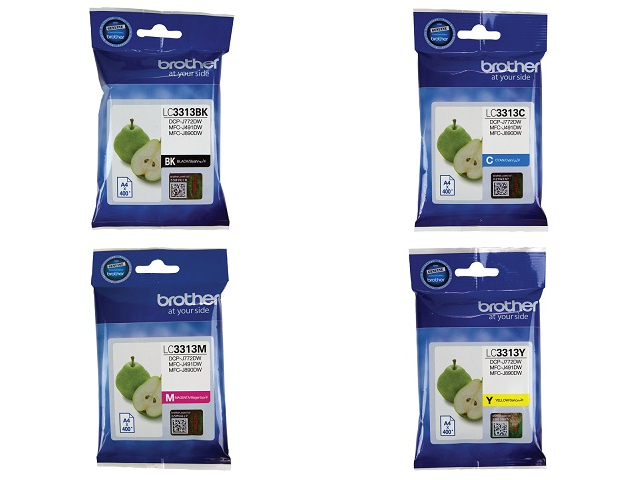 Genuine Brother LC3313 ink cartridges 4 Pack (BK/C/M/Y)
