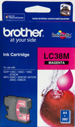 Genuine Brother LC38M (Magenta) ink cartridge